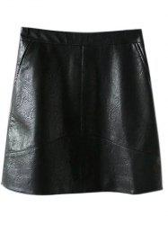 PU Leather A Line Skirt With Pockets - BLACK L