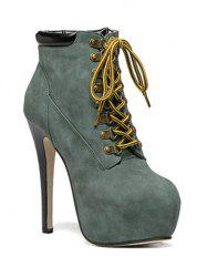 Stiletto Heel Lace-Up Ankle Boots