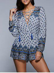 Plunging Neck Lace Up Printed Long Sleeve Romper -