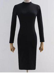 Mock Neck Long Sleeve Back Cutout Bodycon Pencil Dress