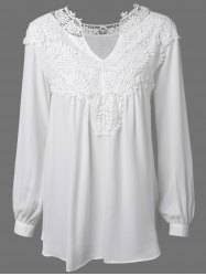 Long Sleeve Crochet Detail Lace Tunic Blouse - WHITE XL