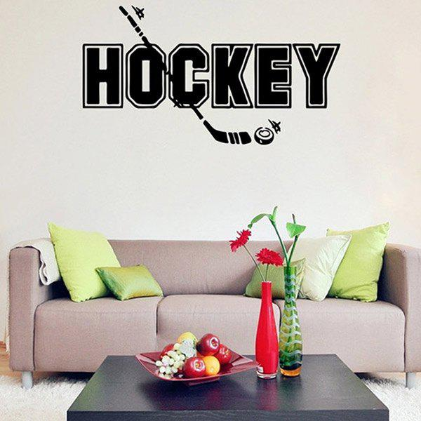 Removable Waterproof HOCKEY Word Sports Wall Decals For BedroomsHOME<br><br>Color: BLACK; Wall Sticker Type: Plane Wall Stickers; Functions: Decorative Wall Stickers; Theme: Words/Quotes; Material: PVC; Feature: Removable; Size(L*W)(CM): 42*22; Weight: 0.120kg; Package Contents: 1 x Wall Sticker;