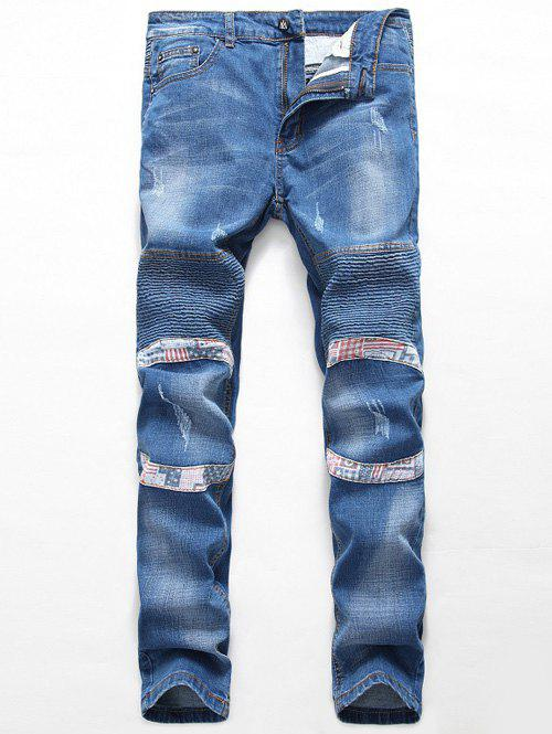 Outfit Zipper Fly Straight Insert Scratched Pintuck Jeans