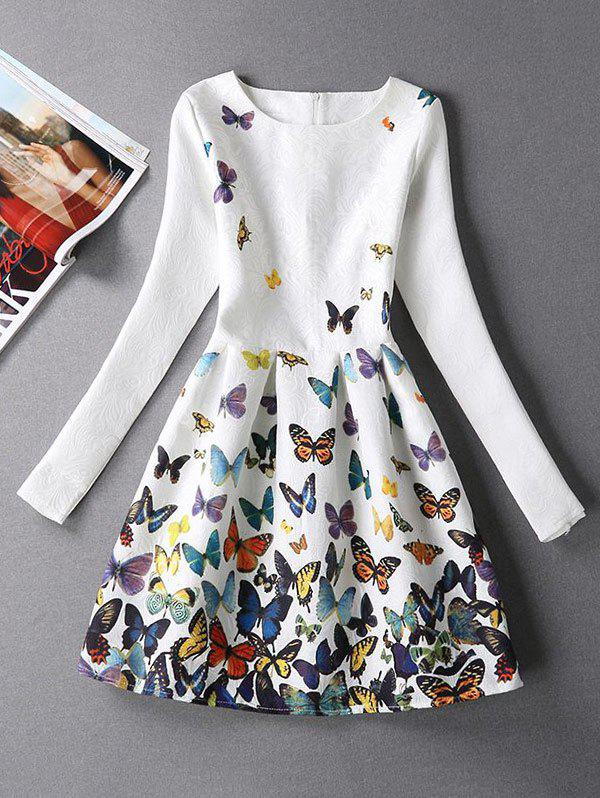 White Xl Butterfly Print Skater Dress With Sleeves