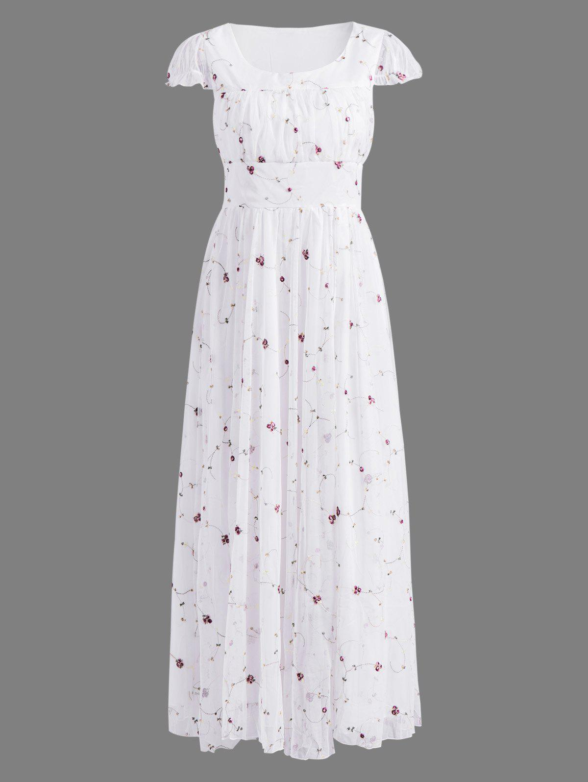 White Xl Floral Embroidered Gauze Maxi Wedding Guest Dress Rosegal Com