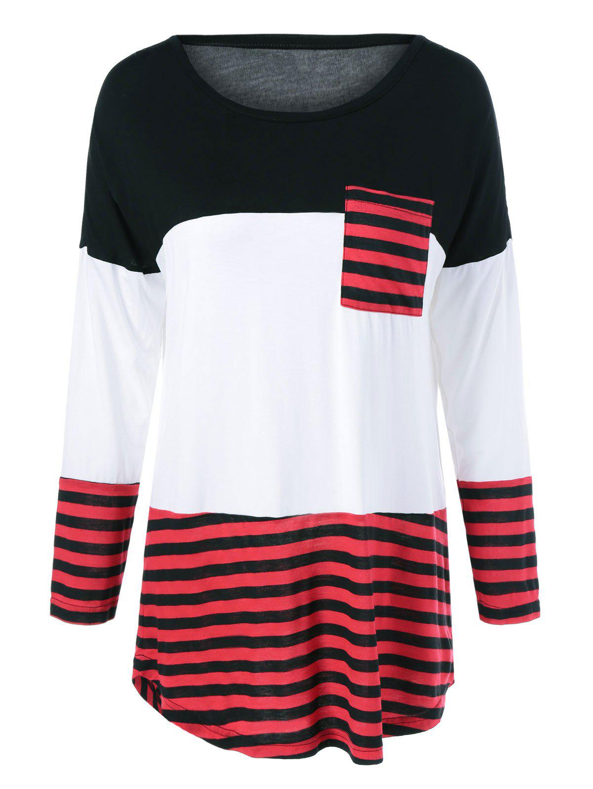 Chic One Pocket Striped High Low T-Shirt