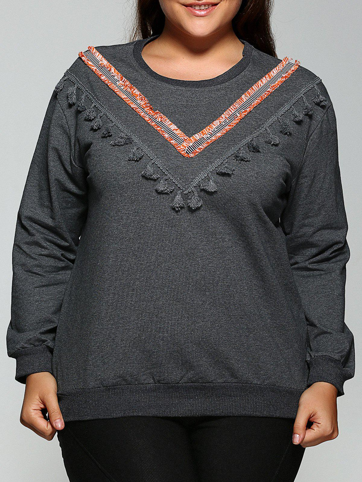 Online Round Neck Fringed Sweatshirt