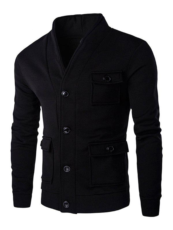 Affordable Flap Patch Pocket Long Sleeve Button Up Jacket