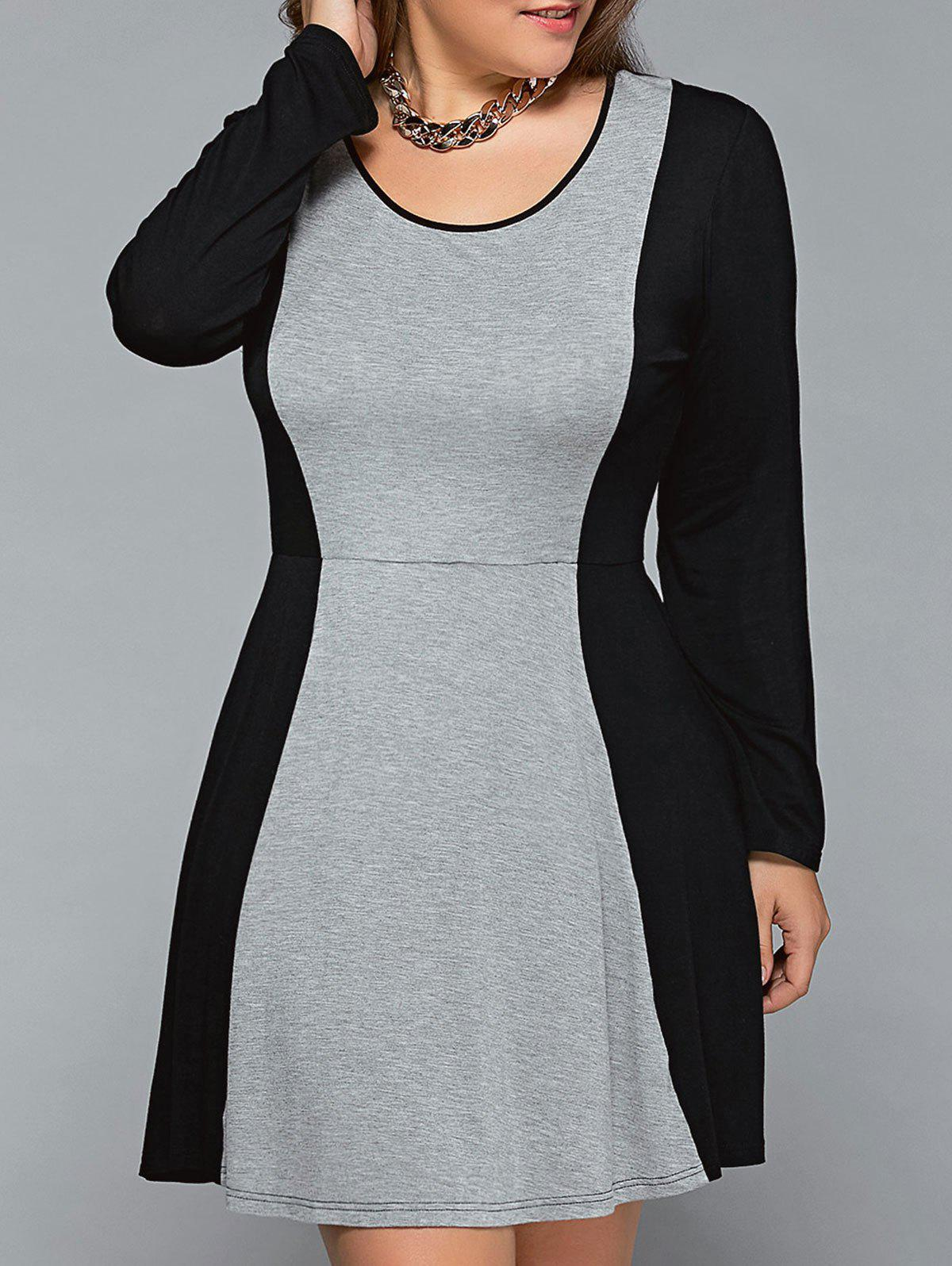Plus Size Long Sleeve Flare DressWOMEN<br><br>Size: 4XL; Color: BLACK AND GREY; Style: Brief; Material: Cotton Blend,Spandex; Silhouette: A-Line; Dresses Length: Mini; Neckline: Scoop Neck; Sleeve Length: Long Sleeves; Pattern Type: Patchwork; With Belt: No; Season: Fall,Spring,Summer; Weight: 0.370kg; Package Contents: 1 x Dress;