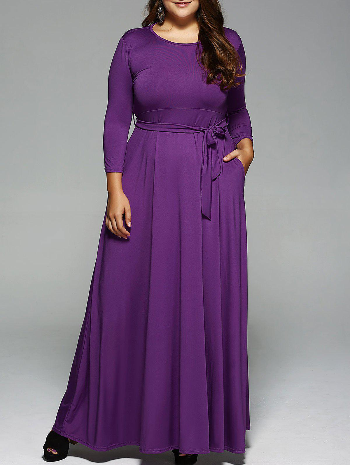 Best Plus Size Long Sleeve Maxi Formal A Line Evening Swing Dress