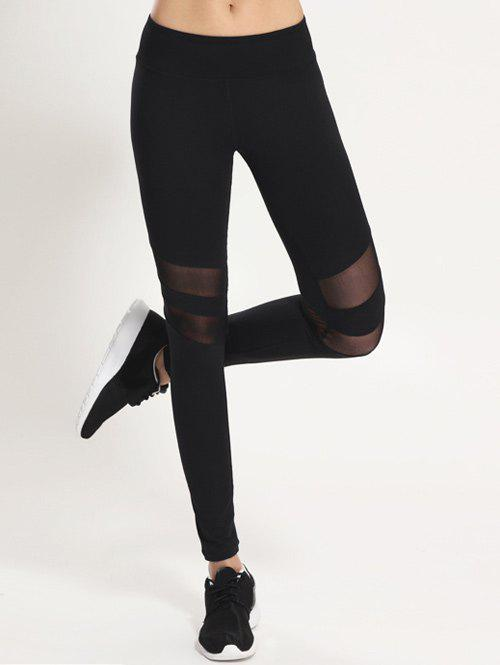 Mesh Panel Sporty Running LeggingsWOMEN<br><br>Size: S; Color: BLACK; Style: Active; Length: Ninth; Material: Polyester,Spandex; Fit Type: Skinny; Waist Type: Mid; Closure Type: Elastic Waist; Pattern Type: Patchwork; Pant Style: Pencil Pants; Weight: 0.177kg; Package Contents: 1 x Leggings;