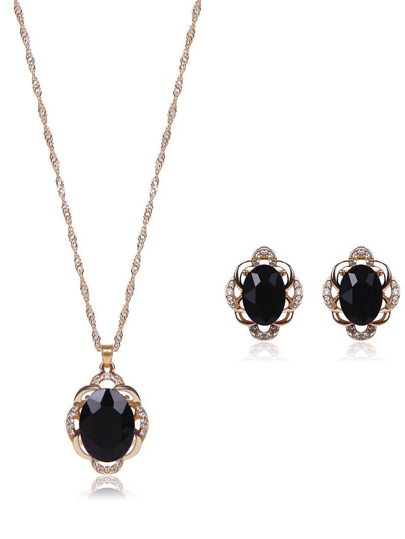Faux Gem Rhinestone Hollowed Jewelry SetJEWELRY<br><br>Color: BLACK; Item Type: Pendant Necklace; Gender: For Women; Metal Type: Alloy; Style: Trendy; Shape/Pattern: Others; Weight: 0.040kg; Package Contents: 1 x Necklace  1 x Earring (Pair);