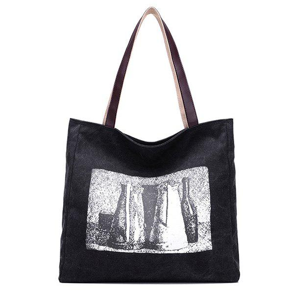 New Sketch Print Canvas Bag