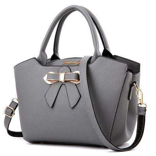 Fancy Metal Bow Textured Leather Tote Bag