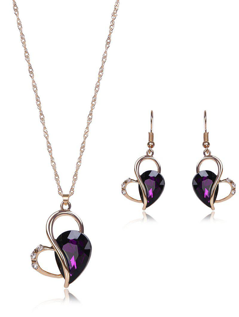 Faux Amethyst Hollowed Jewelry SetJEWELRY<br><br>Color: PURPLE; Item Type: Pendant Necklace; Gender: For Women; Metal Type: Alloy; Style: Trendy; Shape/Pattern: Water Drop; Weight: 0.050kg; Package Contents: 1 x Necklace  1 x Earring (Pair);