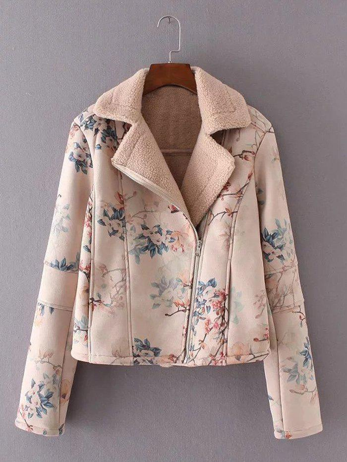 New Floral Print Furred Jacket