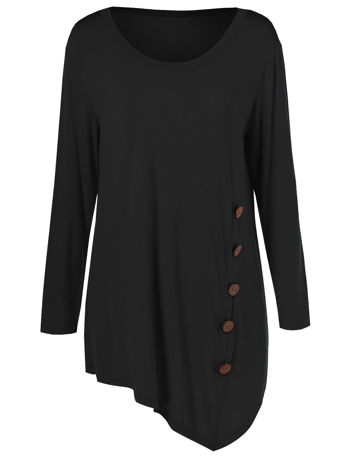 Plus Size Inclined Buttoned BlouseWOMEN<br><br>Size: 2XL; Color: BLACK; Material: Cotton Blends,Spandex; Shirt Length: Regular; Sleeve Length: Full; Collar: Scoop Neck; Style: Casual; Season: Fall,Spring,Summer; Pattern Type: Solid; Weight: 0.2520kg; Package Contents: 1 x Blouse;