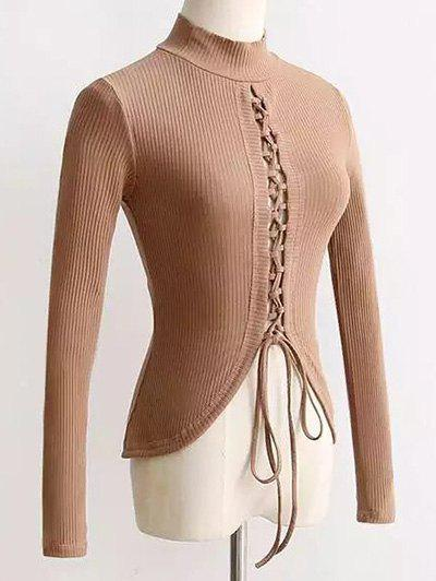 Affordable High Neck Reversible Lace Up Knitwear