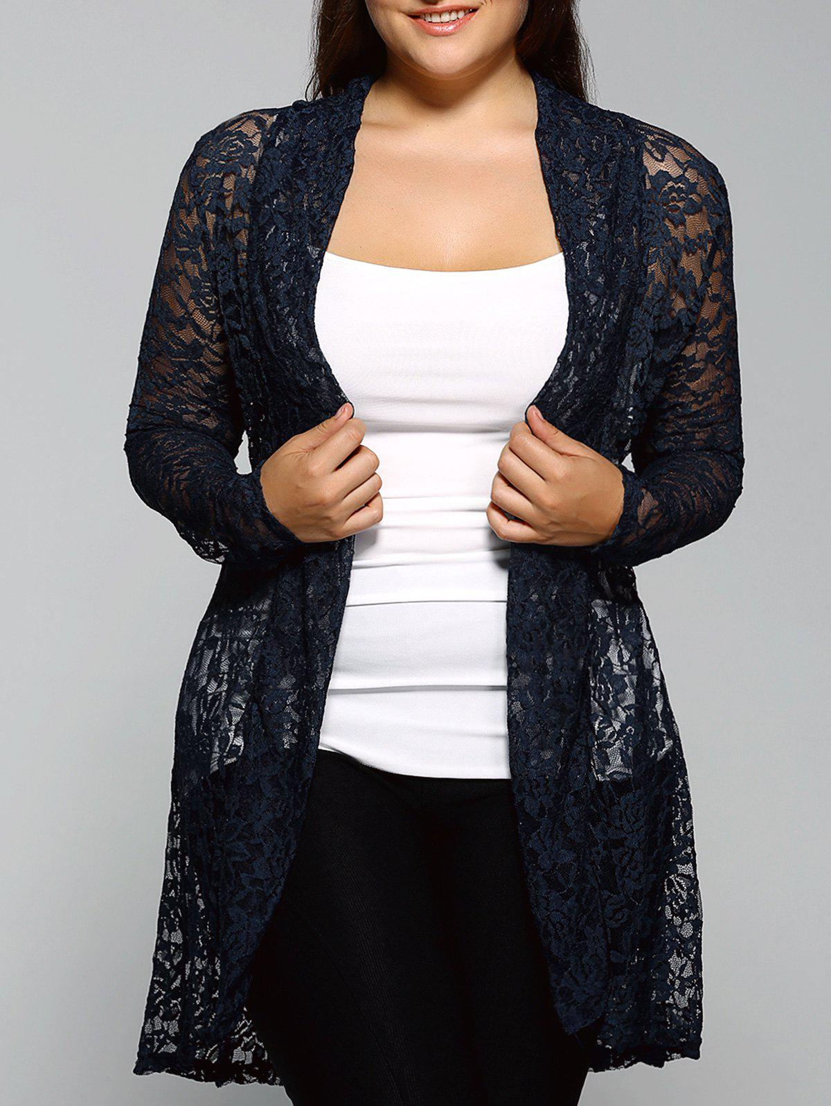 Collarless Plus Size Cut Out Lace BlouseWOMEN<br><br>Size: 3XL; Color: CADETBLUE; Material: Cotton,Polyester; Shirt Length: Long; Sleeve Length: Full; Collar: Collarless; Style: Fashion; Season: Fall; Pattern Type: Solid; Weight: 0.270kg; Package Contents: 1 x Blouse;