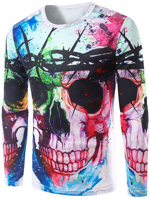Colorful Skull 3D Print Long Sleeve Halloween T-ShirtMEN<br><br>Size: M; Color: COLORMIX; Material: Polyester; Sleeve Length: Full; Collar: Round Neck; Style: Casual; Embellishment: 3D Print; Pattern Type: Skulls; Season: Fall,Spring; Weight: 0.4000kg; Package Contents: 1 x T-Shirt;