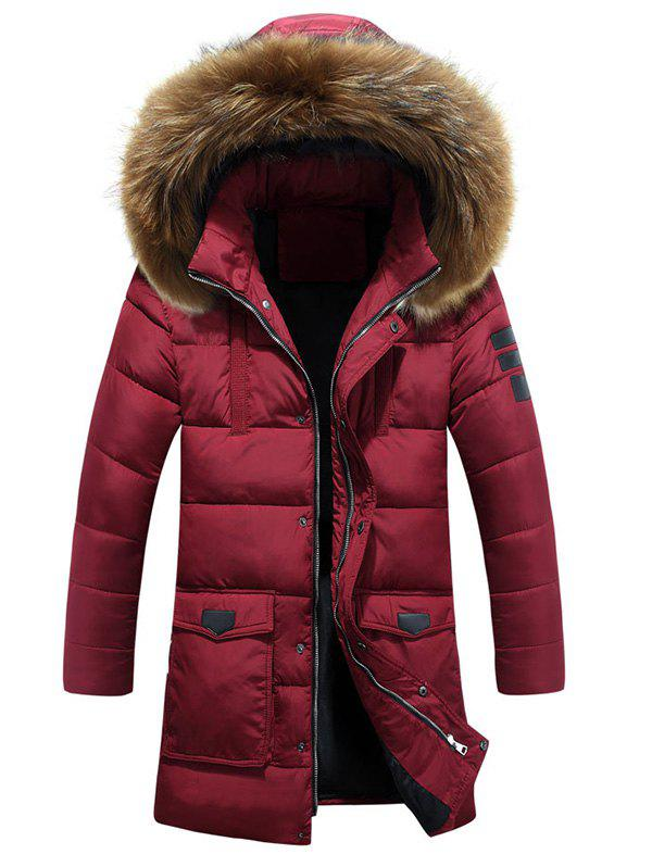 New Applique Quilted Coat with Fur Hood