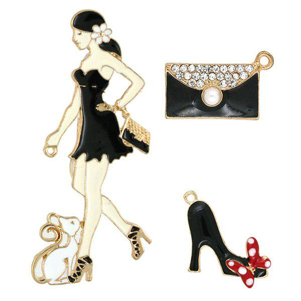 Fashion Girls Pet Hand Bag High Heels Brooch SetJEWELRY<br><br>Color: BLACK; Brooch Type: Brooch; Gender: For Women; Material: Resin; Metal Type: Gold Plated; Style: Trendy; Shape/Pattern: Others; Weight: 0.030kg; Package Contents: 1 x Brooch(Set);