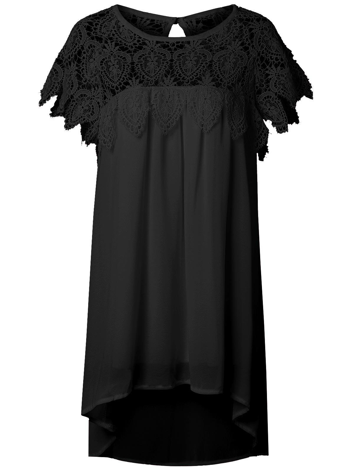 Affordable Lace Panel Chiffon Tunic Shift Summer Dress