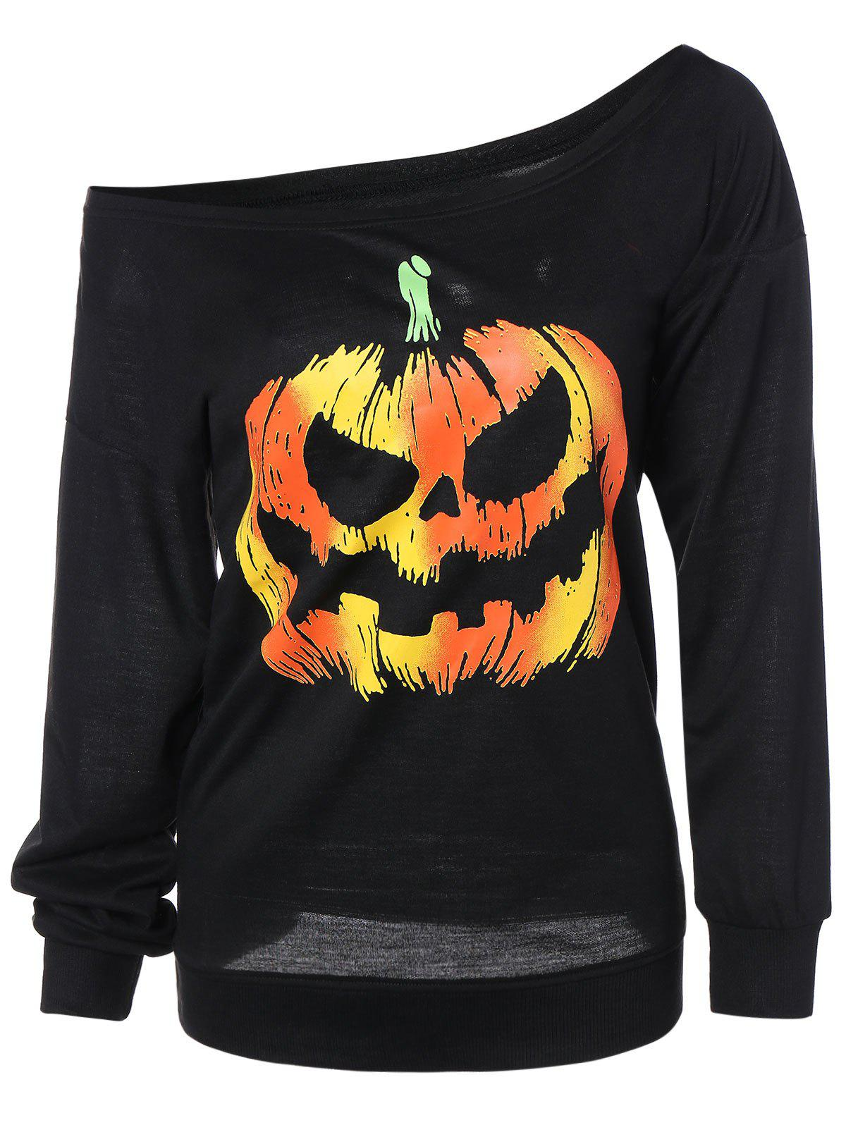 Sale Skew Neck Pumpkin Sweatshirt