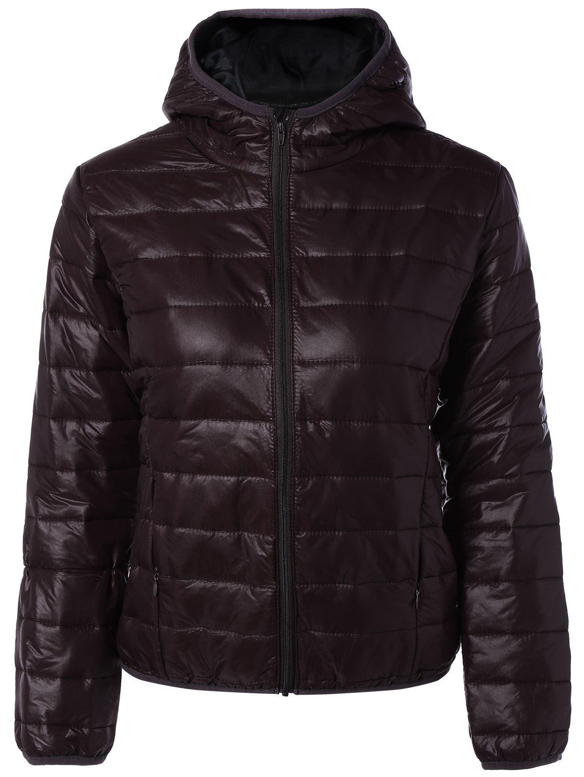 Online Topstitching Hooded Quilted Winter Jacket