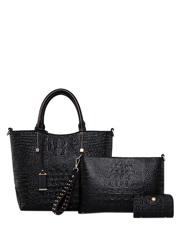 Outfit Embossed PU Leather Zipper Tote Bag