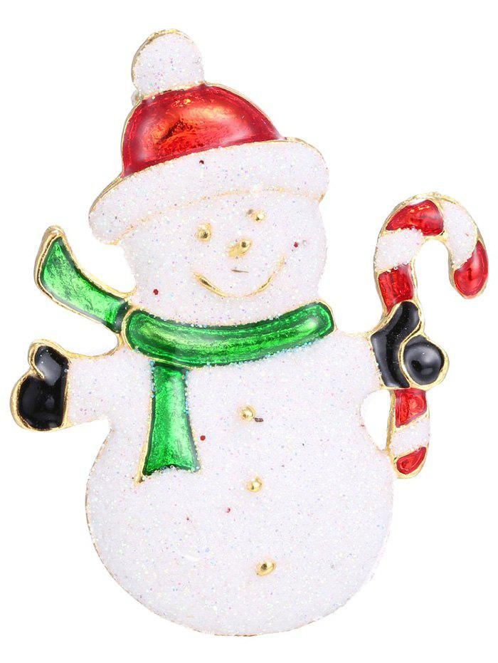Alloy Snowman Christmas Candy Cane BroochJEWELRY<br><br>Color: WHITE; Brooch Type: Brooch; Gender: For Women; Style: Trendy; Shape/Pattern: Others; Weight: 0.050kg; Package Contents: 1 x Brooch;