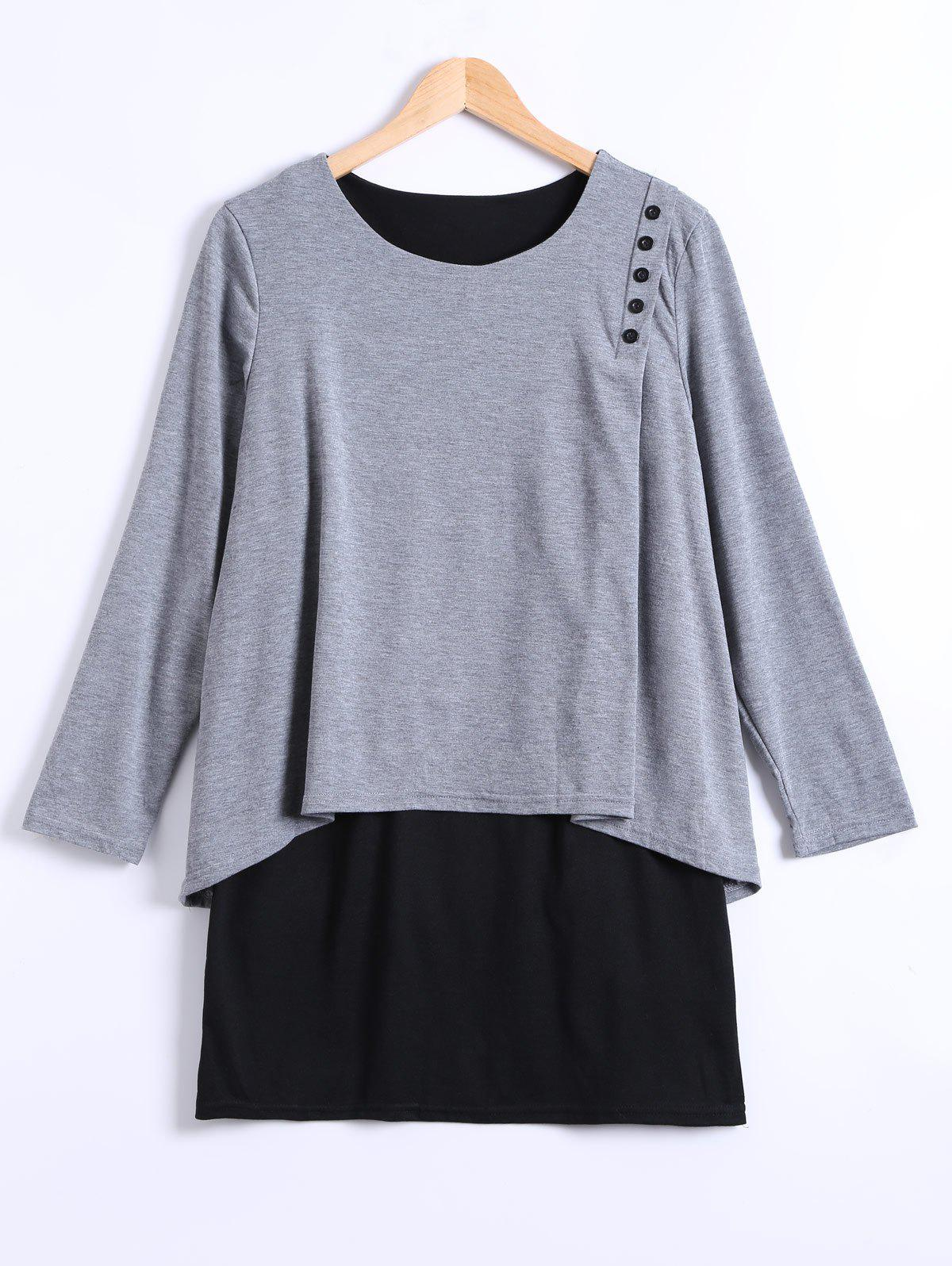 Affordable Long Sleeves Asymmetric Faux Twinset T-Shirt