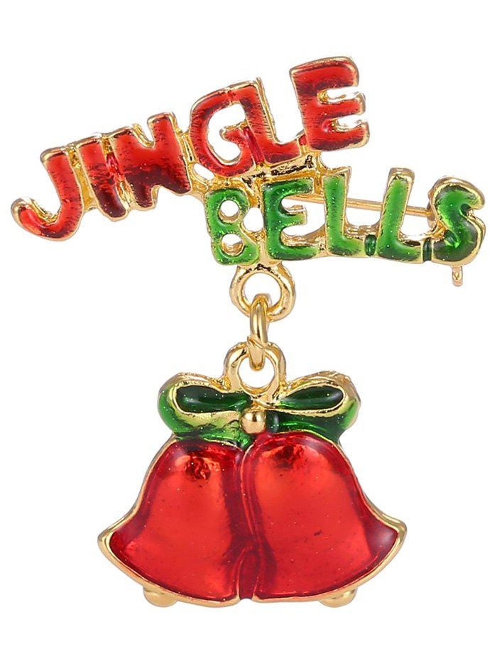Alloy Jingle Bells Bows Christmas BroochJEWELRY<br><br>Color: GOLDEN; Brooch Type: Brooch; Gender: For Women; Style: Trendy; Shape/Pattern: Bows; Weight: 0.050kg; Package Contents: 1 x Brooch;