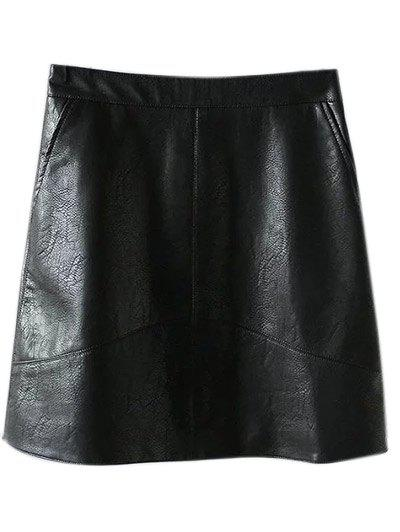New PU Leather A Line Skirt With Pockets