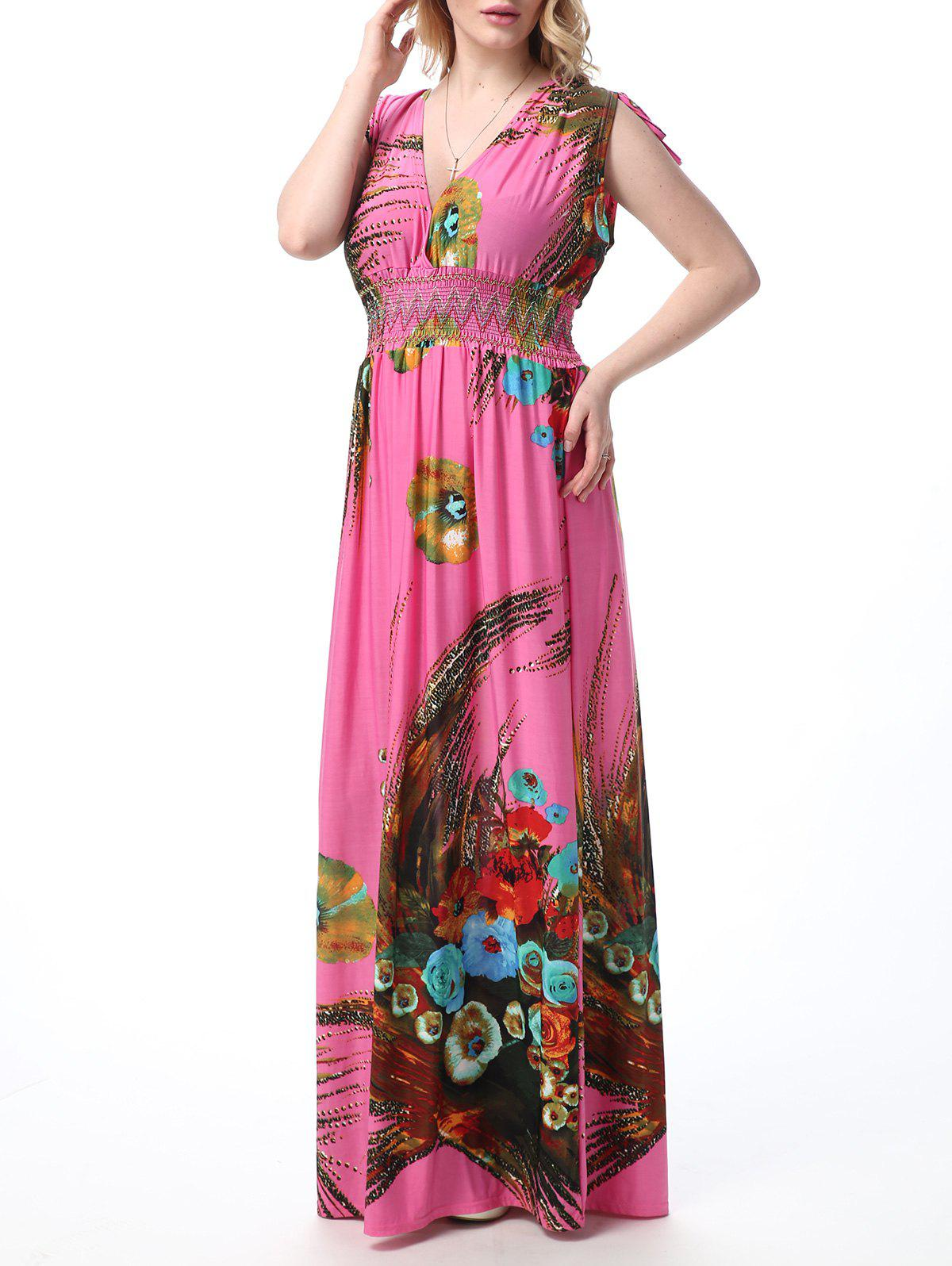 Fancy Floral Print Empire Waist Floor Length Boho Dress