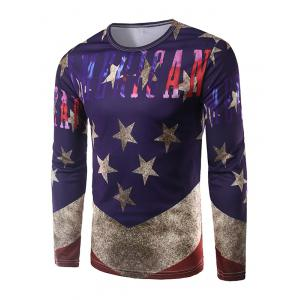 Round Neck Long Sleeves Five-Point Star Print T-Shirt