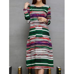 Colorful Long Striped Print Double Pockets A-Line Dress