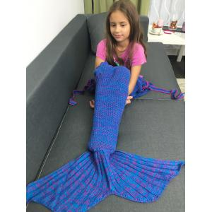 Knitted Flowers Embellished Mermaid Tail Blanket - Bluish Violet - M