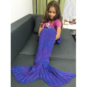Yarn Free Knitted Sleeping Bags Mermaid Tail Shape Blanket - Bluish Violet - M