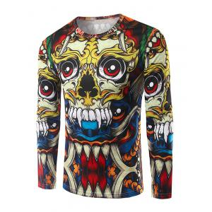Round Neck Long Sleeves 3D Totem Print T-Shirt