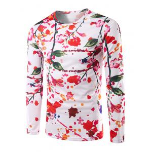 Casual Long Sleeves Floral 3D Print T-Shirt