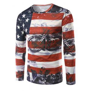 Long Sleeves American Flag 3D Print T-Shirt