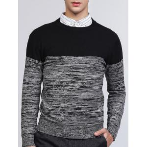 Crew Neck Color Block Splicing Knit Blends Sweater - Black - 2xl