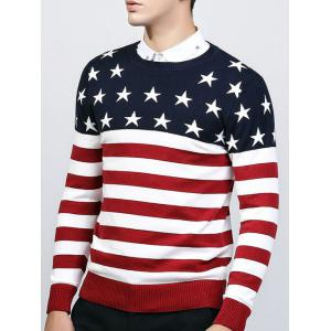 Crew Neck Star and Stripe Splicing Knitting Sweater - Red - L
