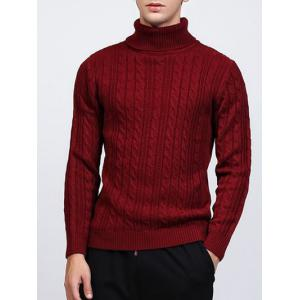 Roll Neck Kink Design Long Sleeve Sweater - Wine Red - Xl