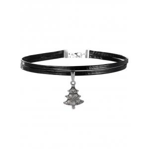 Embossed Christmas Tree Choker Necklace