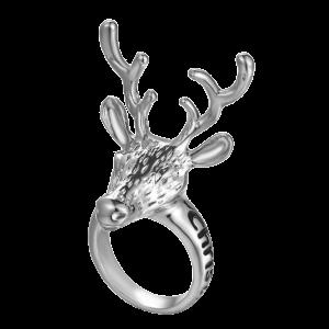Christmas Deer Letter Ring - Silver - One-size