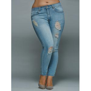 Mid Waisted Skinny Plus Size Distressed Jeans - Light Blue - 4xl