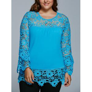 Lace Spliced Hollow Out Plus Size Blouse - Lake Blue - 3xl
