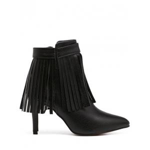 Zipper Fringe Pointed Toe Ankle Boots